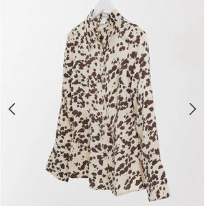 ASOS ANNORLUNDA FITTED SHEER SHIRT IN SMUDGED COW